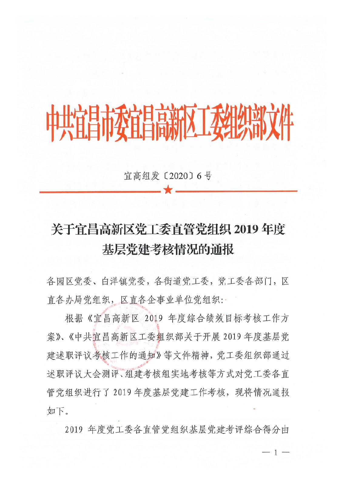 公司党委在高新区2019年度基层党建考核中被评定为优胜单位